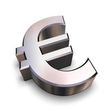 3d chrome euro symbol poster