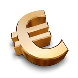3d golden euro symbol poster
