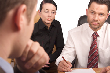 three persons business meeting-isolated