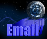 email 3d with earth globe and stars poster