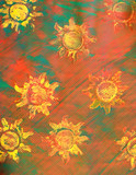 paste paper: yellow suns on red and green background poster