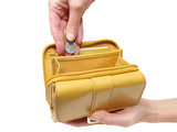 wallet and hands-clipping path poster