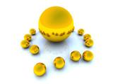 golden spheres - top view poster