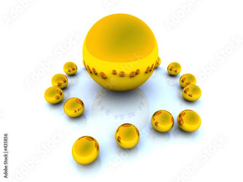 poster of golden spheres - top view