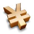 3d golden yen symbol