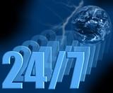 24/7 - always open 3d - earth & lightning poster