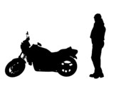 isolated biker and motorbike poster