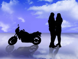 lovers and motorbike poster