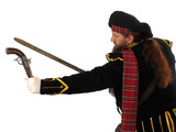 scotch warrior with pistol and sword poster