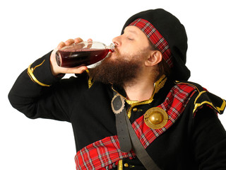 scotch warrior drinking wine