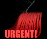 urgent 3d text with lightning poster