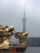 dragon in front of the orientel pearl tower