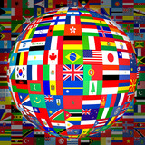 flags globe (with background) poster