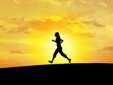 girl runing (silhouette) poster