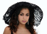 beautiful woman in black lace hat poster