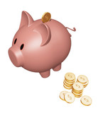 piggy bank with dollar coins poster