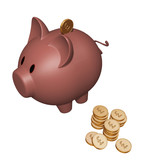 piggy bank with pound coins poster