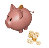 piggy bank with euro coins poster