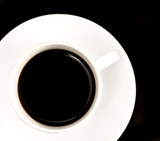black coffee in white cup in black square poster