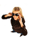 girl with black sunglasses poster