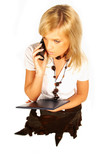 women holding cell phone and folder poster