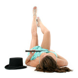 beautiful legs with top hat and cane poster