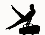 silhouette of a man competing on pommel poster