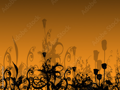 abstract flower bed with their shadows on the background