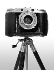 retro camera on tripod