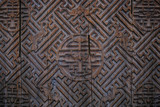 ancient chinese wooden door (background image) poster