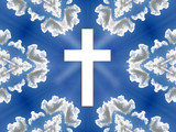 heaven - blue sky, clouds, cross poster