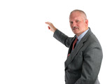 meteorologist or businessman pointing poster