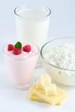 milk, yogurt, cheese, cottage cheese poster