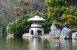 stone temple in japanese garden