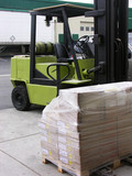 forklift and crate