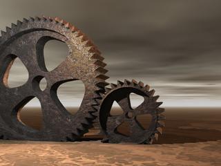rustic cogs in the desert