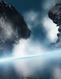 granite rock with ocean mist poster