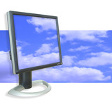 monitor clouds poster