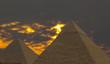 Leinwanddruck Bild pyramids under stormy sky