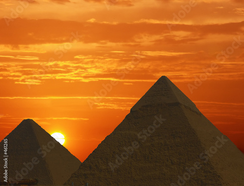 Leinwandbild Motiv sunrise at the pyramids