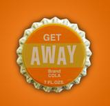 get away themed bottlecap poster