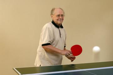 grandfather playing ping pong