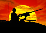army gunner on tank poster