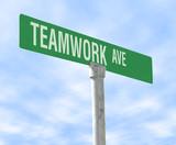 teamwork themed street sign poster