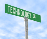 technology themed street sign poster