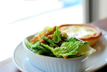 caesar salad and quiche