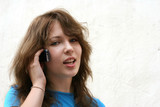 teenage girl talking on the phone poster