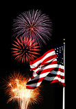 fireworks and flag poster