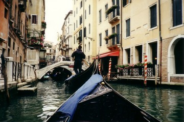 venice streets and walkways viewed from gondola