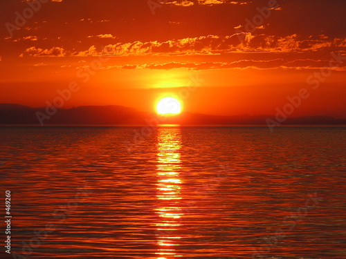 canvas print picture crazy red sunset on the ocean